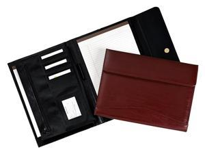Tri-Fold Leather Padholder/Organizer with Magnetic Closure (Black)