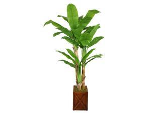 81 in. Banana Tree with Real Touch Leaves Fiberstone Planter