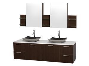 Modern Wall Mount Vanity Set with Sink in Black
