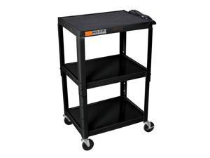 Adjustable Steel AV Cart w Casters in Black