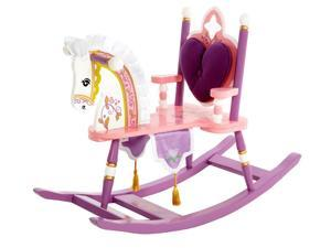 Children's Rocking Chair Horse w Heart Shaped Back Cushion