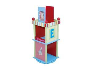 Alphabet Soup Colorful Revolving Bookcase w Two Shelves & Photo Frame at Top