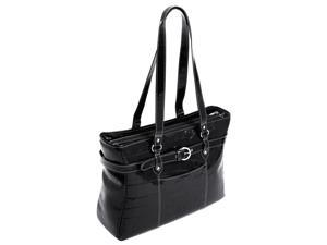 Ladies' Laptop Tote w Leather Shoulder Straps - Serra (Black)