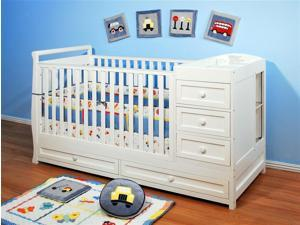 Athena Daphne 2-in-1 Convertible Crib in White