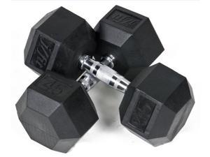45 lbs. Rubber Coated Hex Dumbbell - Set of 2
