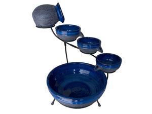 Blueberry Ceramic Solar Cascade Fountain with Rustic Blue Finish