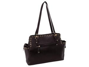 Pebble Grain Faux Leather Tote in Mocca