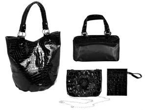 4-Pc Croco Embossed Faux Leather Set Tote in Black