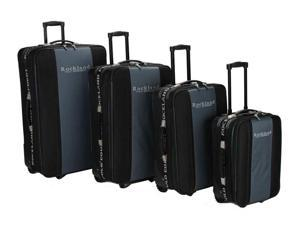 Rockland 4 Pc Lightweight Rolling Luggage Set in Black