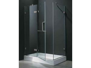 32 in. x 48 in. Frameless Brushed Nickel Shower Enclosure w Base (Left Door)