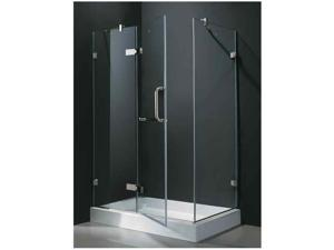 48 in. Frameless Clear Shower Enclosure w Shower Tray (Left Door)