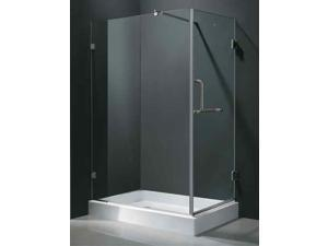 36 in. x 48 in. Brushed Nickel Shower Enclosure w Base (Left Door)