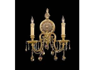 Crystorama Novella Ornate Cast Brass Wall Sconce Golden Teak Strass 2802-OB-GTS