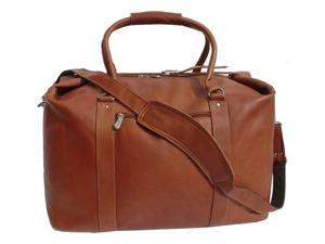 Leather Carry-On Bag w Adjustable Buckle Straps in Saddle