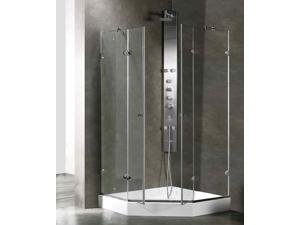 47.63 in. Frameless Shower Enclosure with Base