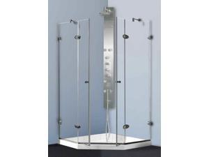 45.63 in. Frameless Shower Enclosure with Base