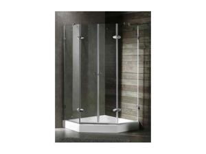 42 in. Frameless Neo-Angle Chrome Shower Enclosure w White Base (42 in.)