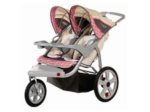 Grand Safari Swivel Wheel Double Jogger in Tan and Pink (Bug Screen for Double Swivel Wheel Jogger Stroller)