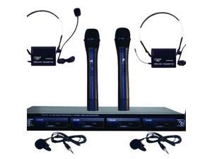 4-Microphone VHF Wireless Microphone System