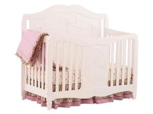 Princess Fixed Side Convertible Crib in White Finish
