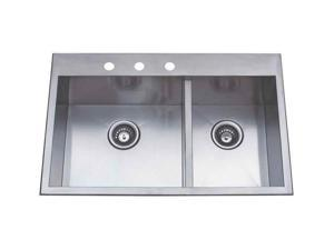 Self-Rimming Offset Double Bowl Sink in Satin Nickel Finish