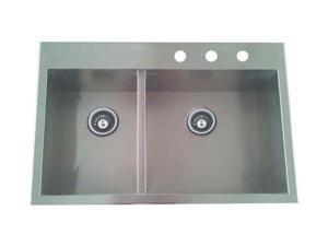 Offset Double Bowl Sink in Satin Nickel Finish