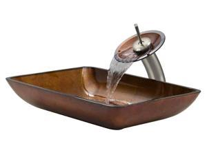 Vessel Sink and Waterfall Faucet Set