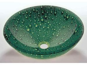 Tempered Glass Vessel Sink in Green