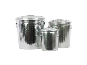 3-Pc Classic Garbage Storage Can Set in Zinc