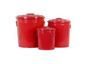 3-Pc Classic Garbage Storage Can Set in Red