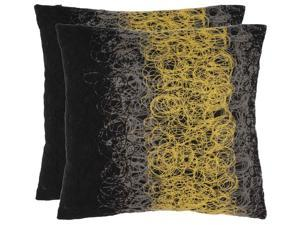 Simon Decorative Pillows in Yellow and Onyx - Set of 2