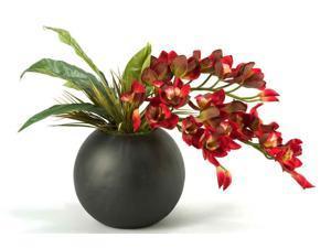 Cymbidium Orchids in Resin Ball Planter