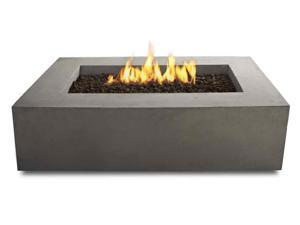 Baltic Natural Gas Rectangle Fire Pit Taable in Glacier Gray