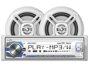 DUAL MCP135BT Marine Single-DIN In-Dash Mechless Digital Media AM/FM Receiver System with Bluetooth(R) & Speakers