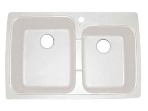 Offset Dual Mount Double Bowl Kitchen Sink in White