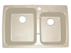 Offset Dual Mount Double Bowl Kitchen Sink in Sahara Beige