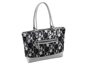 Quilted Fabric with Faux Leather Tote in Gray Lace
