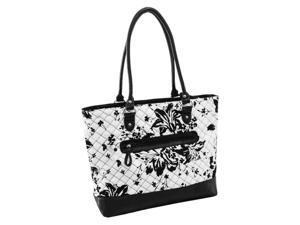 Quilted Fabric with Faux Leather Tote in White Floral