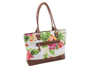 Quilted Fabric with Croco Faux Leather Tote in White Floral