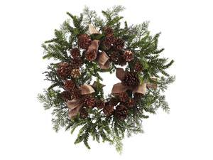 Pine and Pine Cone Wreath with Burlap Bows