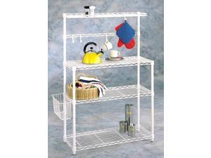 Bakers Rack - White with Basket
