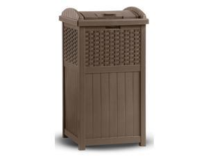 Outdoor Wicker Trash Hideaway in Brown