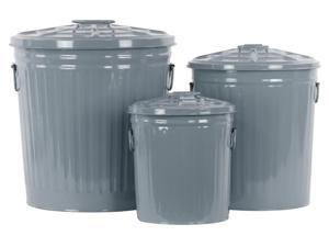 3-Pc Metal Round Storage with Classic Garbage in Gunmetal Gray
