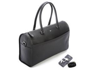 Blocking Saffiano Barrel Bag Set in Black