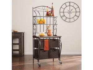 Bakers Rack with Storage Baskets in Black and Espresso