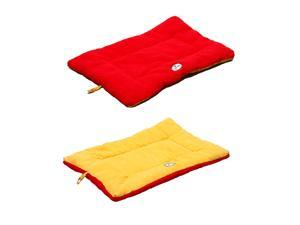 PET LIFE ECO-PAW ECO FRIENDLY REVERSIBLE MACHINE WASHABLE PET DOG BED - RED AND YELLOW - MEDIUM