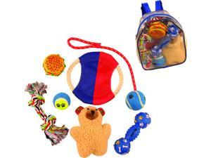 8 PIECE 'BACKPACK' RUBBER JUTE ROPE AND TENNIS SQUEEK PLUSH CHEW HOLIDAY PET DOG TOY GIFT SET - BLUE