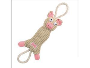 PET LIFE 'PLUSH PIG' NATURAL ECO-FRIENDLY JUTE ROPE SQUEEK NYLON PLUSH PET DOG TOY - PINK