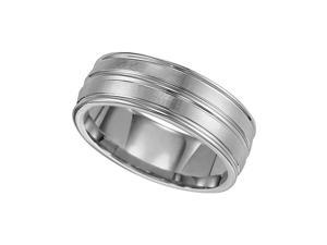 Triton, White Tungsten Carbide 8mm Comfort Fit Wedding Band