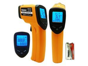 Nubee Temperature Gun Non-contact Infrared Thermometer w/ Laser Sight MAX Display and Emissivity Adjustable ...
